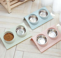 Pet Dog Cat Feeding Station Double Stainless Steel Bowls Food Water Feeder Dish