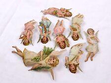 Lot of 8 Embossed Die-Cut Angels Harp Pan Flute Evergreen Flowers Gorgeous F44