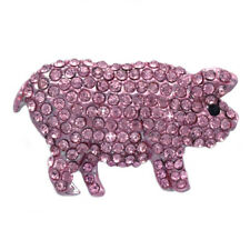Clear Rhinestone Pave Bling Pig Brooch Pin Women Fashion Jewelry Gift