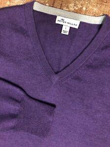 $160 Peter Millar Men's Crown Soft V-Neck Sweater Merino Wool Silk Large Purple