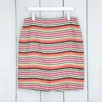 Talbots sz 10 Womens Skirt Pink Orange Striped 100% Linen Pencil Lined Straight