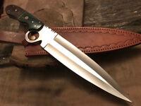 CUSTOM HANDMADE D-2 TOOL STEEL MICARTA BEAUTIFUL HUNTING BOWIE KNIFE WITH SHEATH