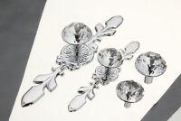 Glass Diamond Crystal Dresser Knobs Wardrobe Drawer Pulls Handle Cabinet Knob
