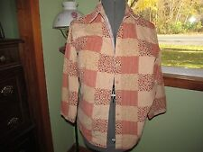 Women's Cabin Creek Patch Work Corduroy Button Down Shirt Size M Good Condition