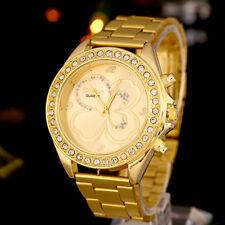 Women Men Unisex Geneva Gold Stainless Steel Quartz Wrist Watches Luxury Ornate