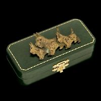 Antique Vintage Art Nouveau Brass Three Scottie Dog Puppy Figural Pin Brooch