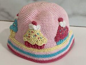 Day Lee Design 0-6 mo Infant Hat Hand Crochet Knit Cupcake Unique Hat Girls $60