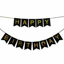 Party : Happy Birthday Letter Banner Party Decor Set Black Gold