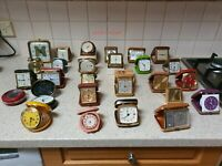 Huge collection of Vintage travel alarm clocks - once in a lifetime Collection.