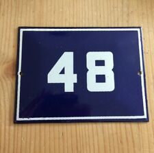 """VINTAGE BLUE FRENCH ENAMEL METAL HOUSE FLAT COTTAGE NUMBER 48 SIGN PLAQUE 4 3/4"""""""
