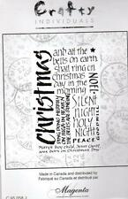 New CLING Crafty MAGENTA Rubber Stamp Christmas Calligraphy Free usa ship