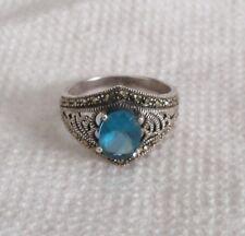 Estate Sterling Silver Blue Topaz Marcasite Ring 8.5 signed Marsala MC filigree