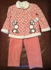Toughskins Infant & Toddler Girls' Fleece Jacket & Pants Poodles & Polka Dots 3T