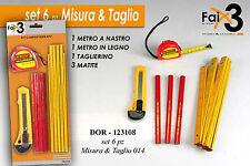 Blister accessori carpentiere fai da te metro matita e taglierino