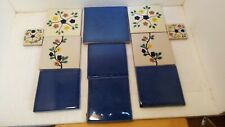 Handmade Red Clay Ceramic Tiles Cobalt Blue and Flowers