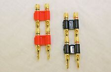 4 Pcs Dual Banana Plug Gold Plated Screw Type Audio Speak Wire Cable Connector