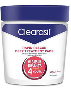 Clearasil Rapid Rescue Deep Treatment Pads Acne Medication 90 Count (Pack of 3)