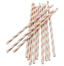 Illume Partyware Foiled Rose Gold Stripe Paper Straws Party Supplies Birthday