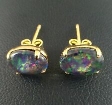 Australian Unique Stud Claw Design Triplet Opal Earrings 18ct Gold Plated w Cert