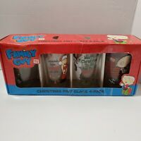 Christmas Family Guy Pint Glass Set 4- NEW Box is Damaged and Taped 2011