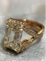 Art Deco 4.20 ct White Emerald Cut Diamond 925 Silver Antique Vintage Ring