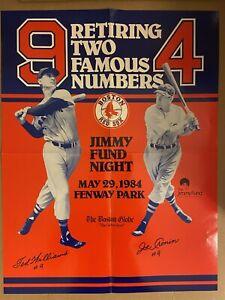 5/29/84 BOSTON RED SOX Retiring #9 TED WILLIAMS #4 JOE CRONIN Large Poster