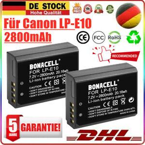 2X 2800mAh LP-E10 Akku für Canon EOS 1100D 1200D 1300D 2000D 4000D Kiss X50 X70