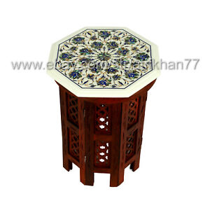 Abalone Shell Side Table Marble Inlay End Table for Living Room Furniture