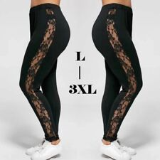 Plus Size Sexy Women Holllow Out Lace Leggings, High Waist Bandage Pants