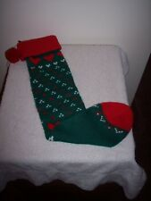 """VINTAGE KNITTED ACRYLIC 27"""" RED & GREEN CHRISTMAS STOCKING~PRETTY"""