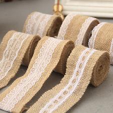 2M Vintage Lace Edged Burlap Ribbon Rustic Wedding Party Crafts Decoration
