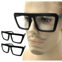 Large All Black Square Geometric Clear Lens Eye Glasses Frame Nerd Geek Vintage