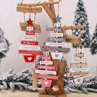 Christmas Ornaments Lettering Wooden Strips Tree Hanging Xmas Party Tree Decor