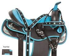 "BLUE WESTERN PLEASURE TRAIL BARREL RACING HORSE SADDLE TACK SET 16"""