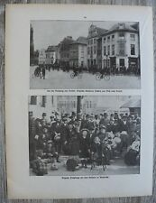 Blatt 1914-22 Belgien Brüssel Chasseurs flüchten Diest Flüchtlinge 1.WK 30x23cm