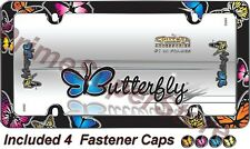 Chrome/Colors Butterfly License Plate Frame Car auto Truck Tag Holder Screw Caps