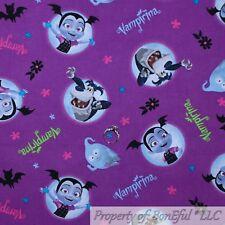 BonEful FABRIC Cotton Quilt Purple VAMPIRINA Show Disney Bat Flower Black SCRAP