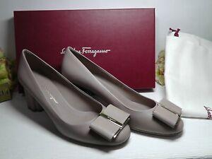 Salvatore Ferragamo ADOBE STONE Leather CAPUA Bow Pump Size 8.5B*****$650*****