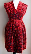 $2,995 Prada 2009 Velvet Brocade Red Black Rose Floral Leopard Dress 2 4 / IT 40