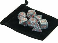 New Chessex Polyhedral Dice with Bag Granite Speckled 7 Piece Set DnD RPG