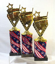SET OF 3 BARB - B - CUE COOK OFF TROPHIES BBQ TROPHIES TROPHY R-W-B