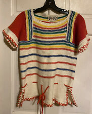 """VTG 70s """"Vicki Volts"""" Colorful Stripes Drawstring Crocheted Knit Sweater~EXC~S"""