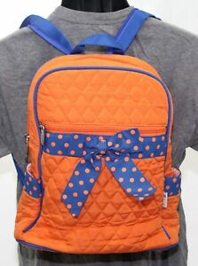 NWT Belvah Quilted Backpack Purse 14x12 Orange & Blue Girls Bow School Book Bag