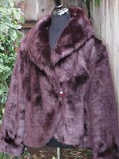 Terry Lewis Women's Faux Fur Jacket L Deep Garnet & Purple Tones Excellent Condi