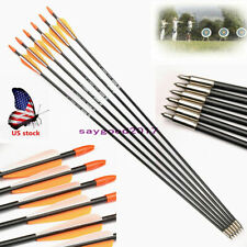 "6pcs 31"" Archery Arrow Fiberglass Arrows Nocks Fletched Target Practice Hunting"