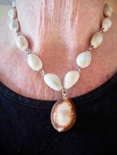 """Authentic Vintage Art Nouveau Cowry Shell """"V"""" Necklace Sterling Clasp"""