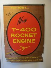 1957 Oldsmobile T-400 Rocket Engine Dealership Wall Sign Window Shade Display 57