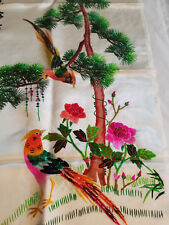 """VTG CHINESE Birds Flowers Tree EMBROIDERY SILK WALL HANGING SIZE 23"""" X14 """""""