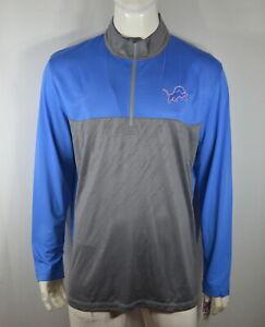 Detroit Lions NFL Team Apparel 2XL 3/4 Zip Long Sleeve Blue Gray NWT