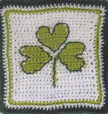 Crochet Pattern ~ SHAMROCK DISHCLOTH ST Patricks Day ~ Instructions